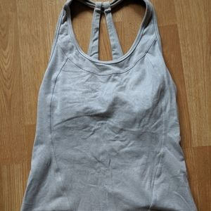 Grey and white striped workout tank